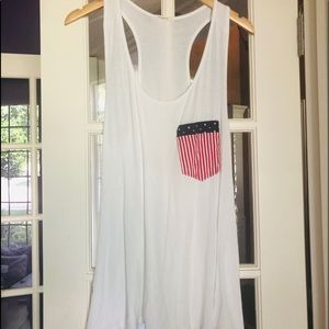12PM by Mon Ami Tank Top Red White & Blue